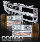 1998 Chevy 1500 Pickup Chrome Grille and Euro Headlights Set