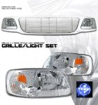 2002 Ford F150 Chrome Billet Grille and Clear Euro Headlights Set