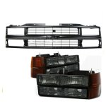 1997 Chevy 1500 Pickup Black Grille and Smoked Euro Headlights Set