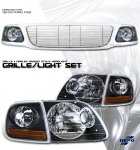 2002 Ford F150 Chrome Billet Grille and Depo Black Headlights Set