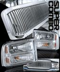 2005 Ford F250 Super Duty Chrome Vertical Grille and Clear Headlights Set