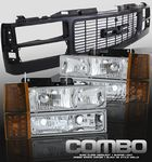 1997 GMC Yukon Black Grille and Clear Euro Headlights Set