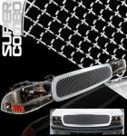 1999 Dodge Durango Chrome Mesh Grille and Smoked Euro Headlights Set
