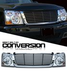 2004 Chevy Silverado Chrome Trim Black Billet Grille and Clear Headlight Conversion Kit