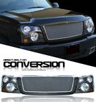 2004 Chevy Silverado Silver Mesh Grille and Black Headlight Conversion Kit