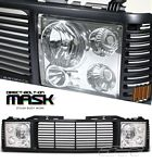 1998 Chevy 1500 Pickup Black Billet Grille and Clear Headlight Conversion Kit