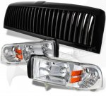 1997 Dodge Ram Black Vertical Grille and Clear Euro Headlights Set