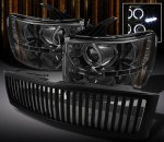 Chevy Silverado 2007-2013 Black Vertical Grille and Smoked Projector Headlights