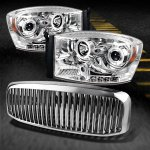 Dodge Ram 2500 2006-2009 Chrome Vertical Grille and Projector Headlights