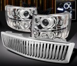 Chevy Silverado 2007-2013 Chrome Vertical Grille and Halo Projector Headlights