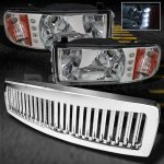 2001 Dodge Ram 2500 Chrome Vertical Grille and Crystal Headlights