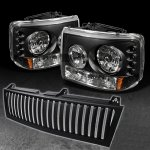 2001 Chevy Silverado Black Vertical Grille and Headlights with LED