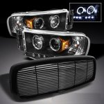 2002 Dodge Ram Black Billet Grille and Projector Headlights
