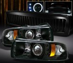 2001 Dodge Ram 2500 Black Vertical Grille and Projector Headlights