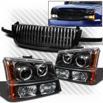 Chevy Avalanche 2003-2005 Black Grille and Projector Headlights Bumper Lights