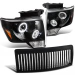 2011 Ford F150 Black Vertical Grille and Projector Headlights Halo LED