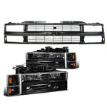 Chevy Suburban 1994-1999 Black Grille and Euro Headlights Set
