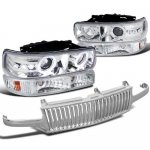 2002 Chevy Silverado Chrome Vertical Grille and Halo Projector Headlights Set