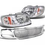 1999 Ford F150 Chrome Vertical Grille and Headlights LED DRL