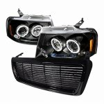 2004 Ford F150 Black Billet Grille and Projector Headlights