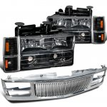 1998 Chevy 3500 Pickup Chrome Vertical Grille and Black Headlights