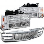 Chevy Suburban 1994-1999 Chrome Vertical Grille and Headlights