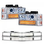 Chevy Tahoe 1995-1999 Chrome Grille and Projector Headlights LED Bumper Lights