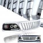 2002 Ford F150 Chrome Bar Grille and Black Projector Headlights