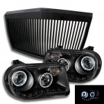 Chrysler 300C 2005-2010 Black Phantom Grille and Halo Projector Headlights