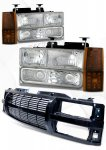 GMC Sierra 1994-1998 Black Billet Grille and Clear Euro Headlights