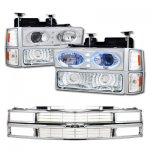 1997 Chevy 2500 Pickup Chrome Grille and Halo Headlights Set