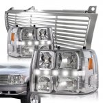 Chevy Silverado 1999-2002 Chrome Billet Grille and LED DRL Headlights