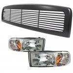 1997 Dodge Ram Black Billet Grille and Clear Euro Headlights Set