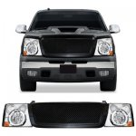 2004 Chevy Silverado Black Mesh Grille and Chrome Headlight Conversion Kit