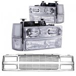 1997 Chevy 1500 Pickup Chrome Billet Grille and Halo Euro Headlights Set