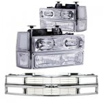 Chevy Tahoe 1995-1999 Chrome Grille and Halo Euro Headlights Set