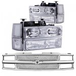 Chevy 3500 Pickup 1994-1998 Chrome Mesh Grille and Halo Euro Headlights Set