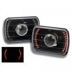 1988 Jeep Wrangler Red LED Black Sealed Beam Projector Headlight Conversion