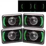 1991 Ford LTD Crown Victoria Green LED Black Sealed Beam Projector Headlight Conversion Low and High Beams