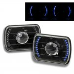 1993 Jeep Wrangler Blue LED Black Sealed Beam Projector Headlight Conversion