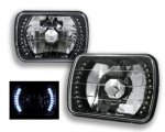 GMC Suburban 1980-1999 White LED Black Chrome Sealed Beam Headlight Conversion