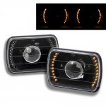 1993 Jeep Wrangler Amber LED Black Sealed Beam Projector Headlight Conversion