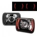 Mitsubishi Mighty Max 1992-1996 Red LED Black Chrome Sealed Beam Projector Headlight Conversion