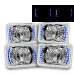 1986 Toyota Van Blue LED Sealed Beam Projector Headlight Conversion Low and High Beams