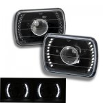 1982 Chevy C10 Pickup White LED Black Sealed Beam Projector Headlight Conversion