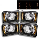 1984 Chevy 1500 Pickup Amber LED Black Chrome Sealed Beam Projector Headlight Conversion Low and High Beams
