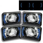 1985 Cadillac Cimarron Blue LED Black Chrome Sealed Beam Projector Headlight Conversion Low and High Beams