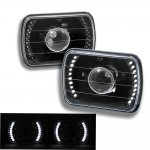 1988 Jeep Wrangler White LED Black Sealed Beam Projector Headlight Conversion