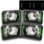 1984 Chevy 1500 Pickup Green LED Black Chrome Sealed Beam Projector Headlight Conversion Low and High Beams