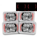 VW Jetta 1980-1984 Red LED Sealed Beam Projector Headlight Conversion Low and High Beams
